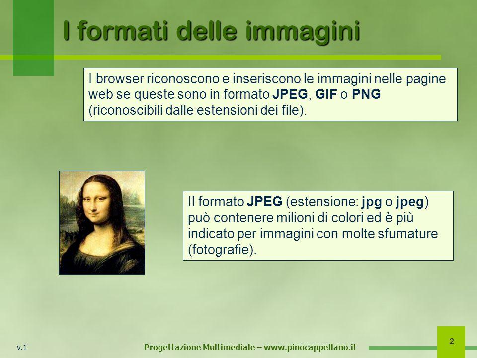 v.1 Progettazione Multimediale – www.pinocappellano.it 2 I browser riconoscono e inseriscono le immagini nelle pagine web se queste sono in formato JP