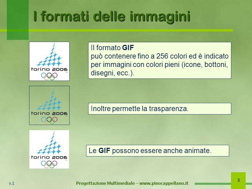 v.1 Progettazione Multimediale – www.pinocappellano.it 3 I formati delle immagini Il formato GIF può contenere fino a 256 colori ed è indicato per immagini con colori pieni (icone, bottoni, disegni, ecc.).