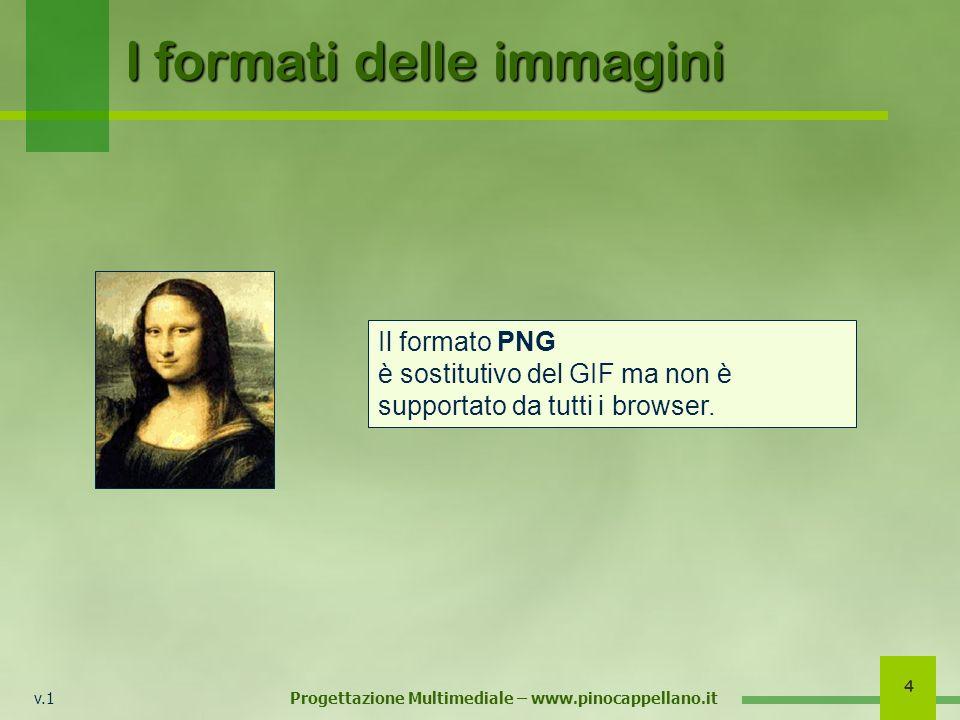 v.1 Progettazione Multimediale – www.pinocappellano.it 4 I formati delle immagini Il formato PNG è sostitutivo del GIF ma non è supportato da tutti i browser.