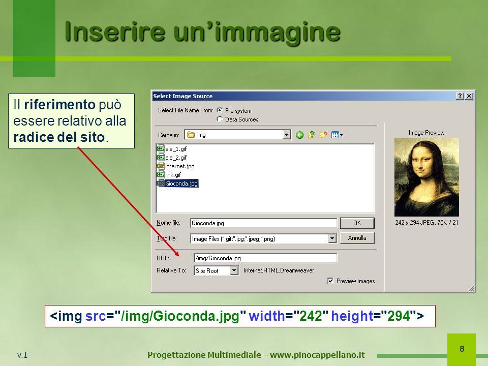v.1 Progettazione Multimediale – www.pinocappellano.it 8 Inserire unimmagine Il riferimento può essere relativo alla radice del sito.