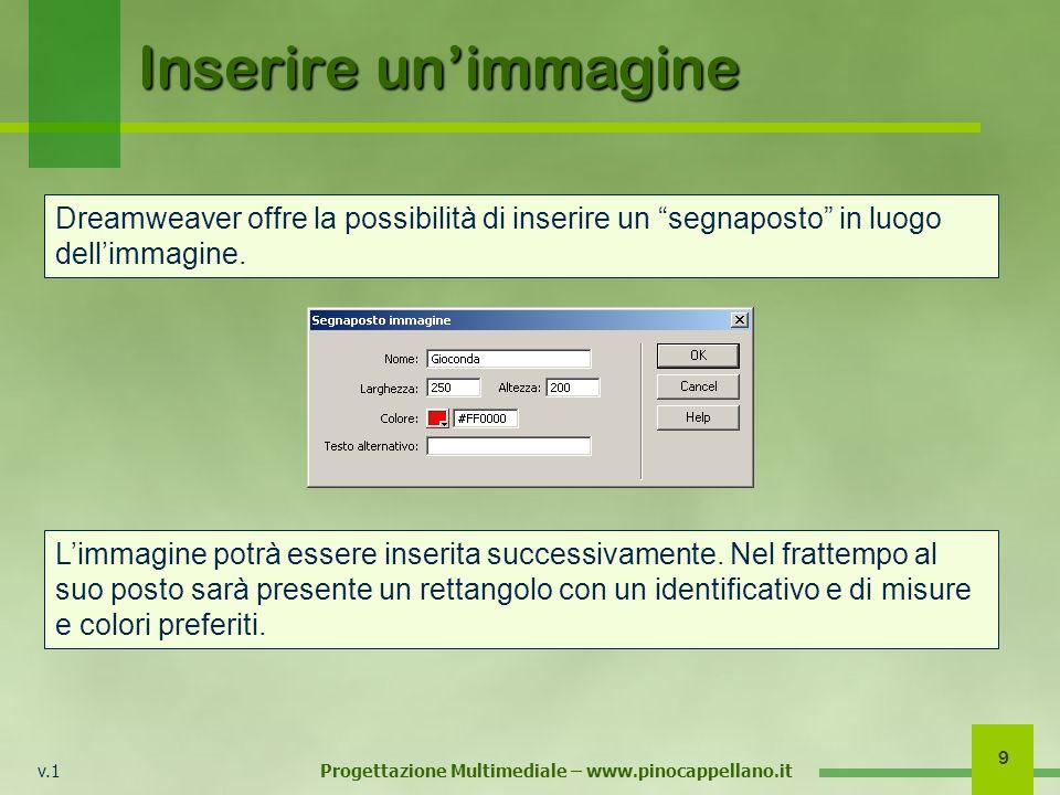 v.1 Progettazione Multimediale – www.pinocappellano.it 9 Inserire unimmagine Dreamweaver offre la possibilità di inserire un segnaposto in luogo delli