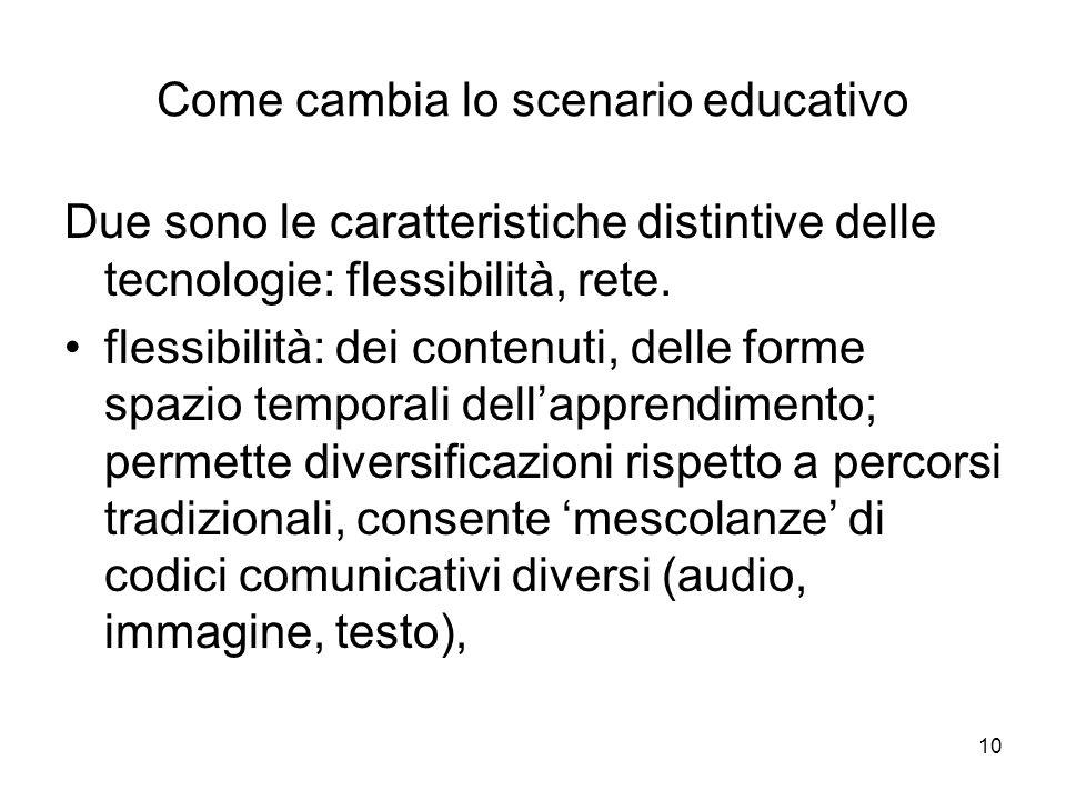 10 Come cambia lo scenario educativo Due sono le caratteristiche distintive delle tecnologie: flessibilità, rete. flessibilità: dei contenuti, delle f
