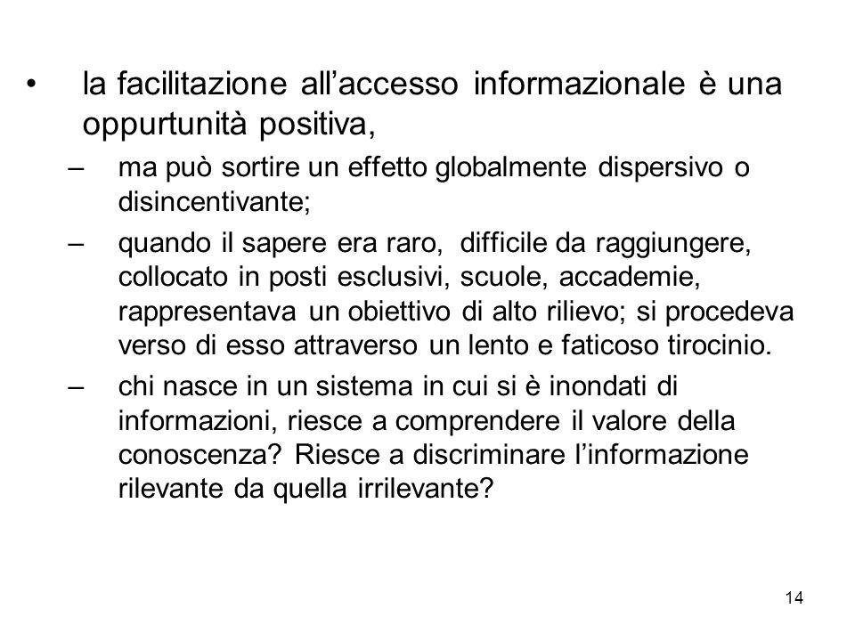 14 la facilitazione allaccesso informazionale è una oppurtunità positiva, –ma può sortire un effetto globalmente dispersivo o disincentivante; –quando