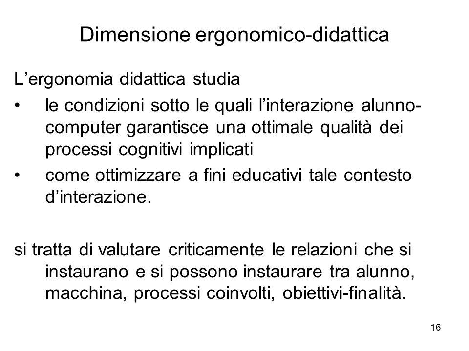 16 Lergonomia didattica studia le condizioni sotto le quali linterazione alunno- computer garantisce una ottimale qualità dei processi cognitivi implicati come ottimizzare a fini educativi tale contesto dinterazione.