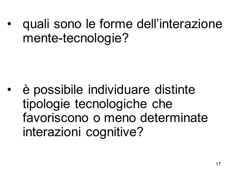 17 quali sono le forme dellinterazione mente-tecnologie? è possibile individuare distinte tipologie tecnologiche che favoriscono o meno determinate in