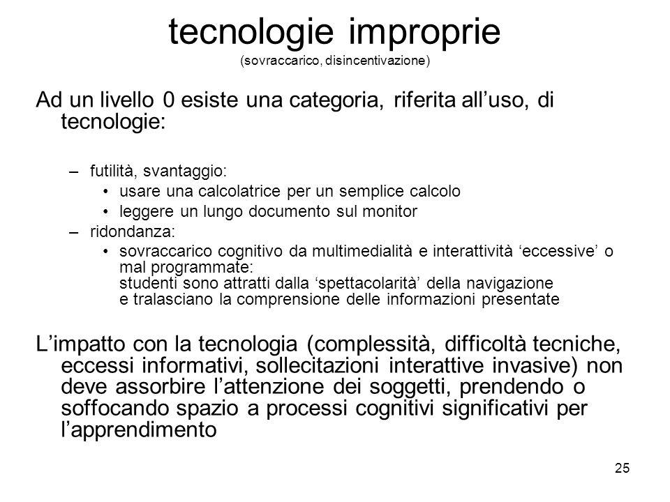 25 tecnologie improprie (sovraccarico, disincentivazione) Ad un livello 0 esiste una categoria, riferita alluso, di tecnologie: –futilità, svantaggio: