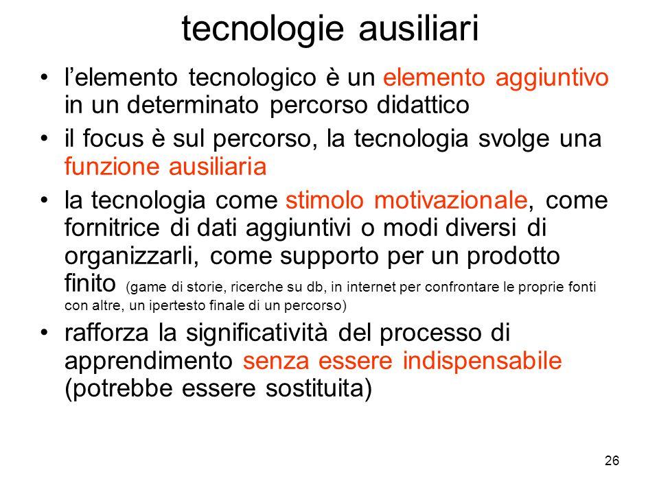 26 lelemento tecnologico è un elemento aggiuntivo in un determinato percorso didattico il focus è sul percorso, la tecnologia svolge una funzione ausi