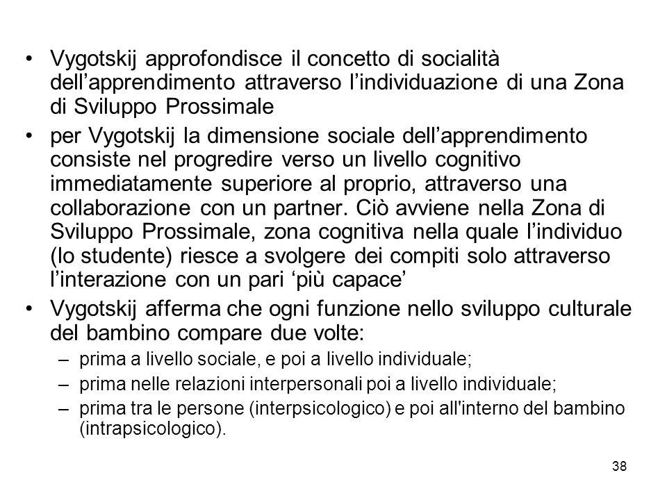 38 Vygotskij approfondisce il concetto di socialità dellapprendimento attraverso lindividuazione di una Zona di Sviluppo Prossimale per Vygotskij la dimensione sociale dellapprendimento consiste nel progredire verso un livello cognitivo immediatamente superiore al proprio, attraverso una collaborazione con un partner.