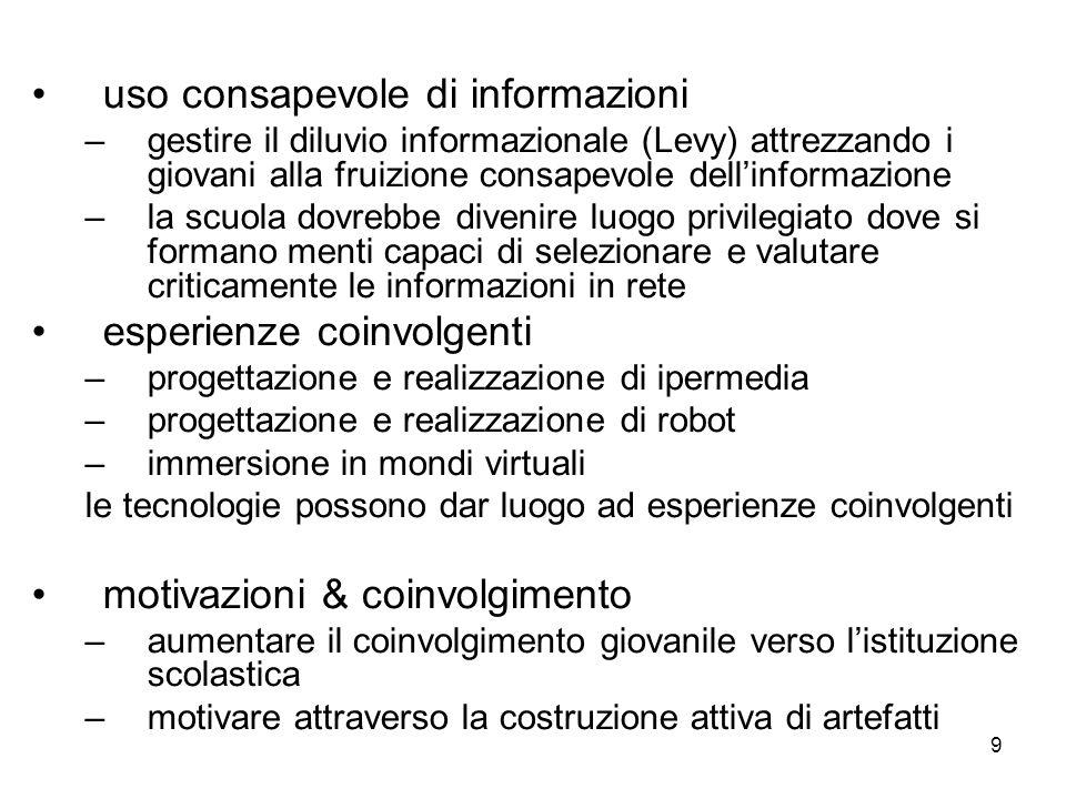 9 uso consapevole di informazioni –gestire il diluvio informazionale (Levy) attrezzando i giovani alla fruizione consapevole dellinformazione –la scuo