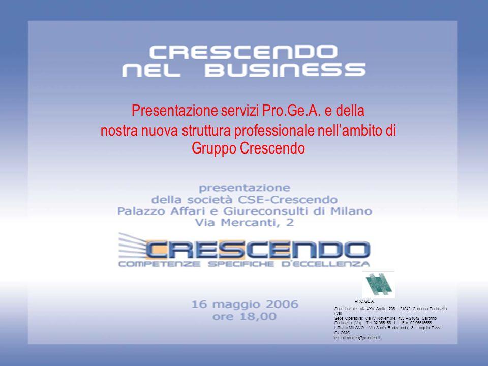 Presentazione servizi Pro.Ge.A. e della nostra nuova struttura professionale nellambito di Gruppo Crescendo PRO.GE.A. Sede Legale: Via XXV Aprile, 206