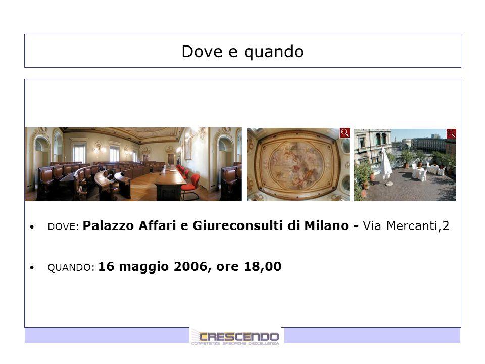 2 Dove e quando DOVE: Palazzo Affari e Giureconsulti di Milano - Via Mercanti,2 QUANDO: 16 maggio 2006, ore 18,00