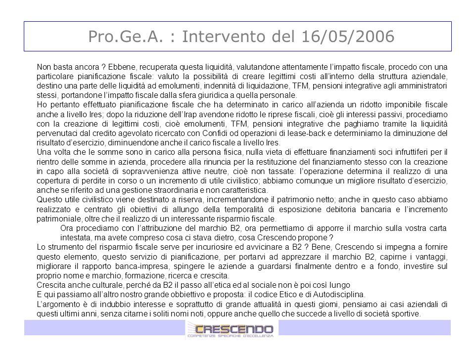 Pro.Ge.A. : Intervento del 16/05/2006 Non basta ancora ? Ebbene, recuperata questa liquidità, valutandone attentamente limpatto fiscale, procedo con u