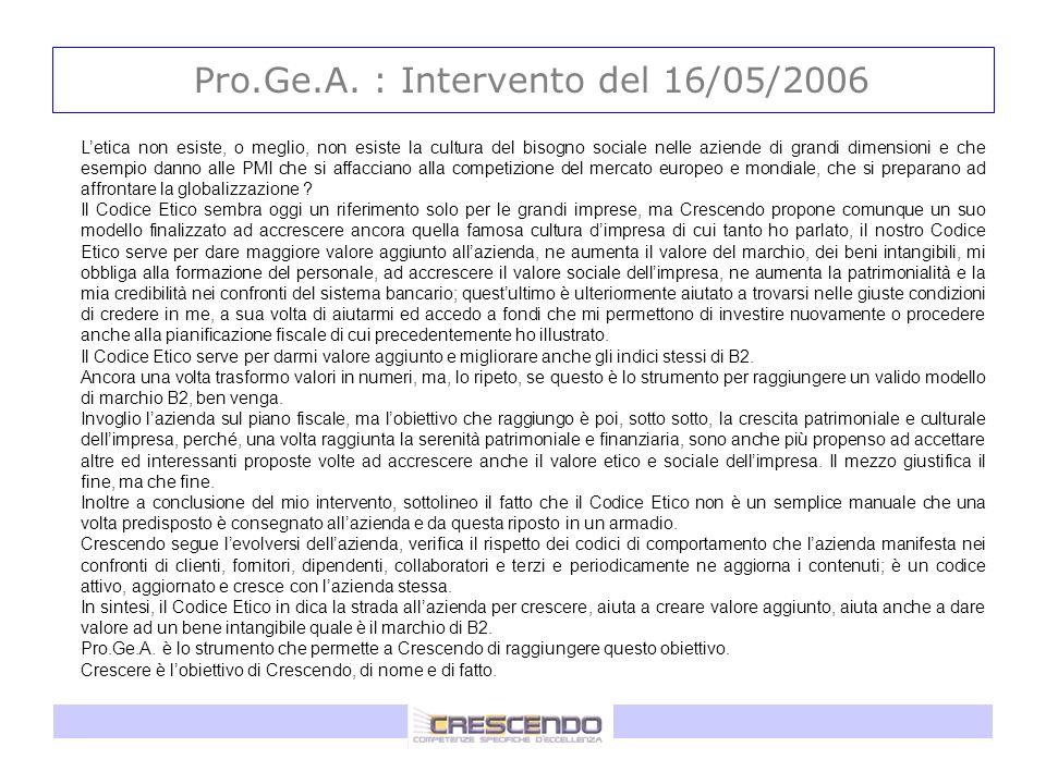 Pro.Ge.A. : Intervento del 16/05/2006 Letica non esiste, o meglio, non esiste la cultura del bisogno sociale nelle aziende di grandi dimensioni e che