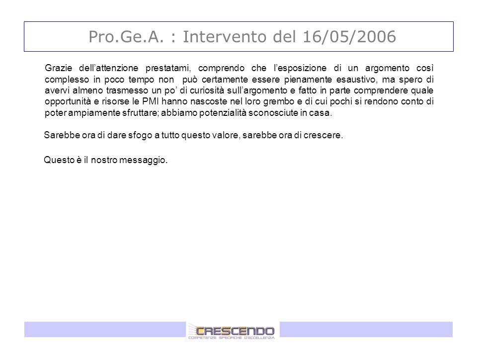 Pro.Ge.A. : Intervento del 16/05/2006 Grazie dellattenzione prestatami, comprendo che lesposizione di un argomento così complesso in poco tempo non pu