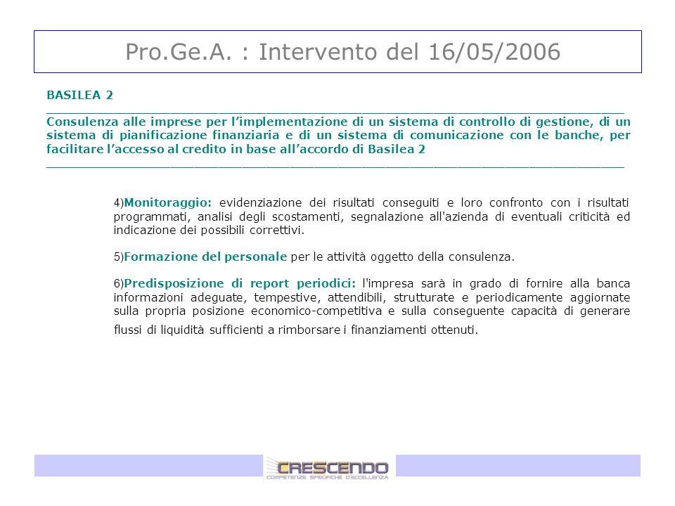 Pro.Ge.A. : Intervento del 16/05/2006 BASILEA 2 _________________________________________________________________________ Consulenza alle imprese per