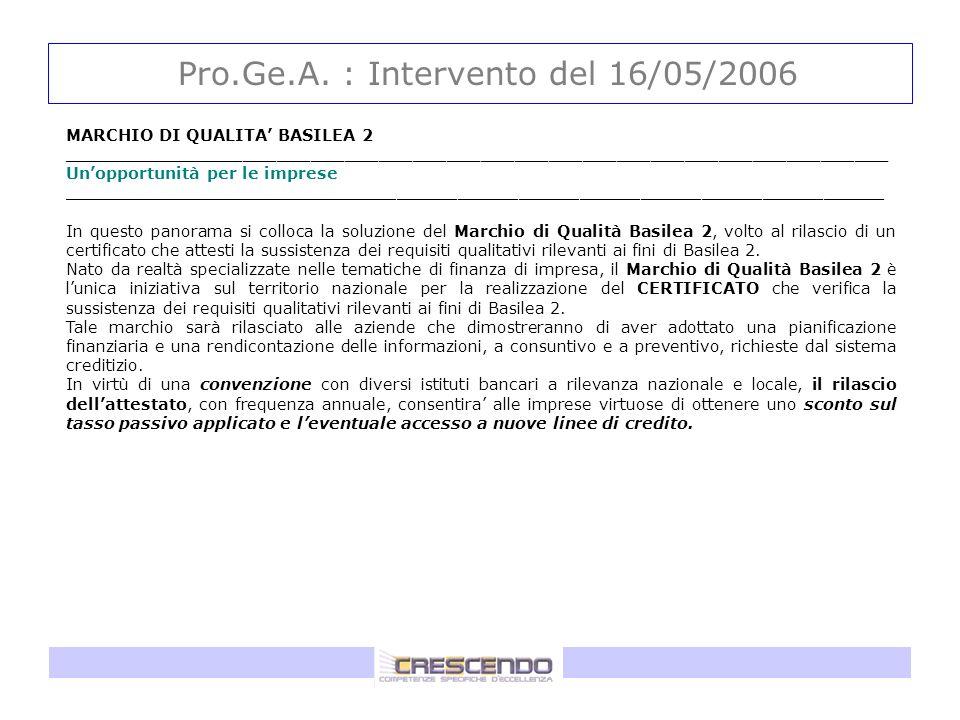 Pro.Ge.A. : Intervento del 16/05/2006 MARCHIO DI QUALITA BASILEA 2 _________________________________________________________________________ Unopportu