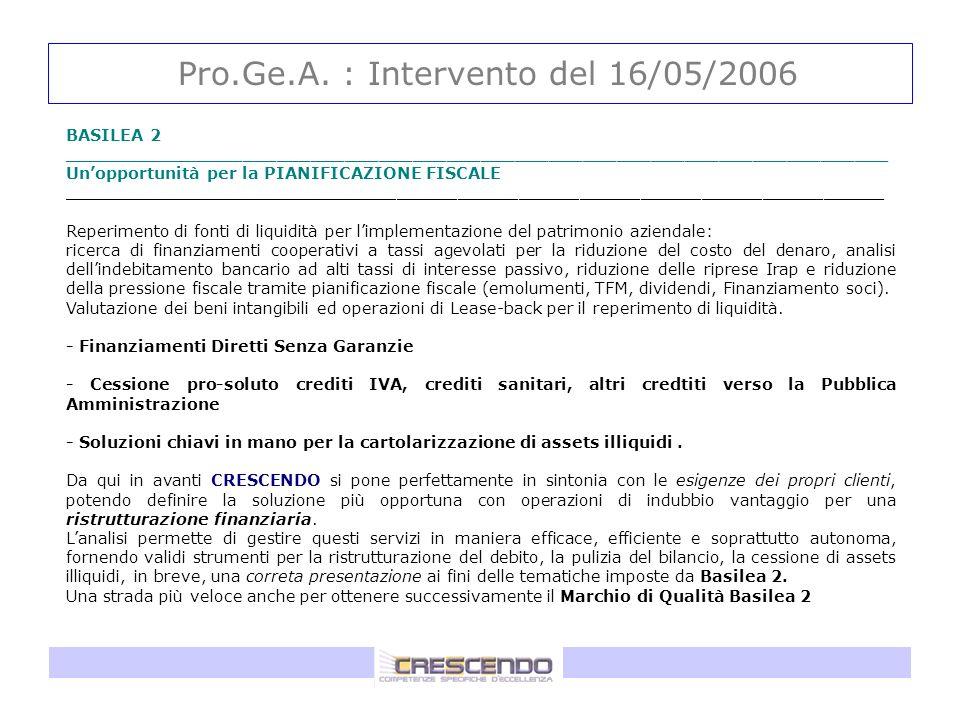Pro.Ge.A. : Intervento del 16/05/2006 BASILEA 2 _________________________________________________________________________ Unopportunità per la PIANIFI