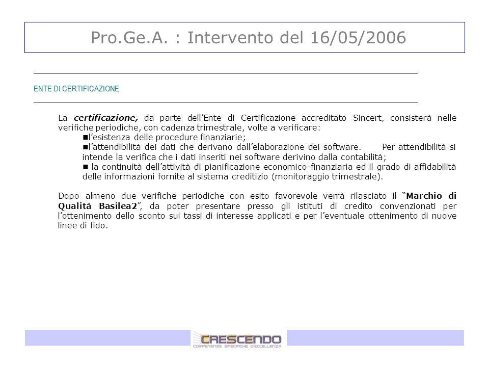 Pro.Ge.A. : Intervento del 16/05/2006 _____________________________________________________________________________________ ENTE DI CERTIFICAZIONE ___