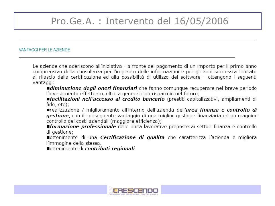 Pro.Ge.A. : Intervento del 16/05/2006 _____________________________________________________________________________________________ VANTAGGI PER LE AZ