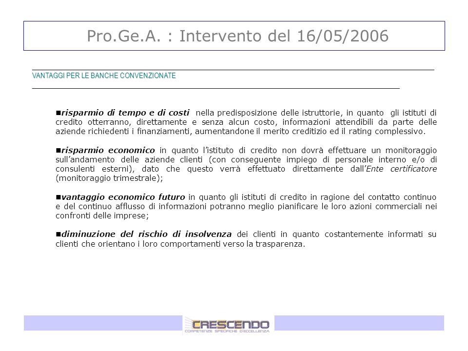 Pro.Ge.A. : Intervento del 16/05/2006 _____________________________________________________________________________________________ VANTAGGI PER LE BA
