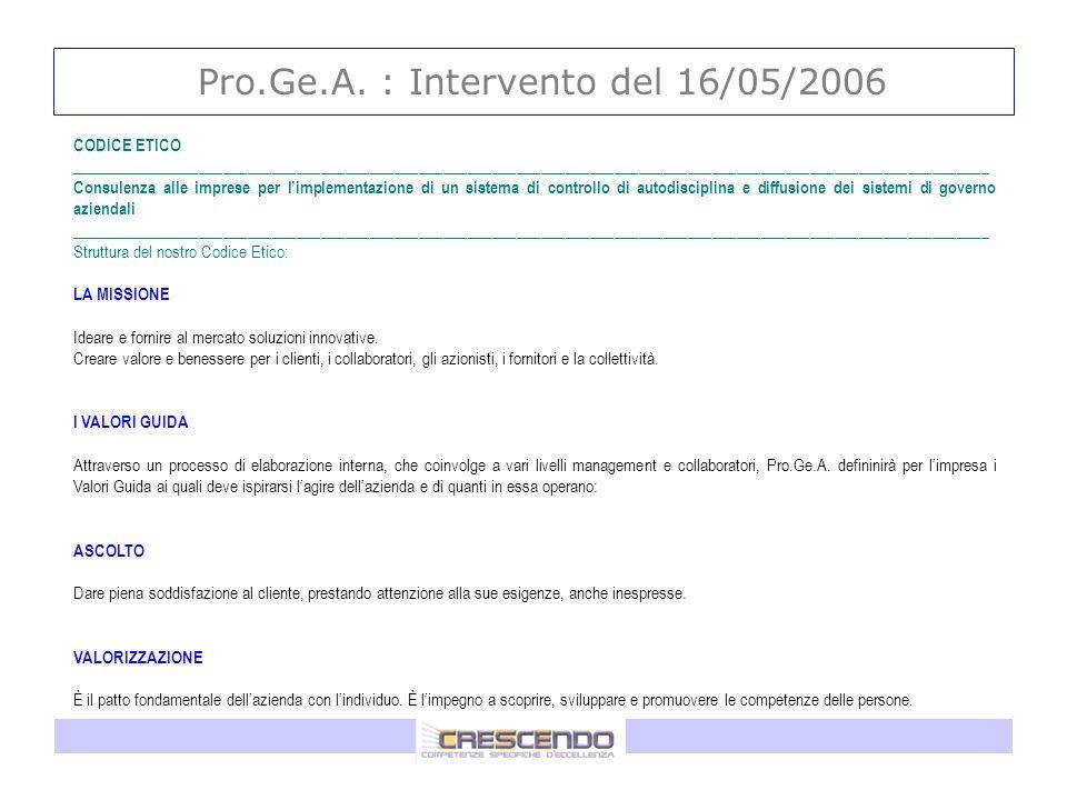 Pro.Ge.A. : Intervento del 16/05/2006 CODICE ETICO ___________________________________________________________________________________________________
