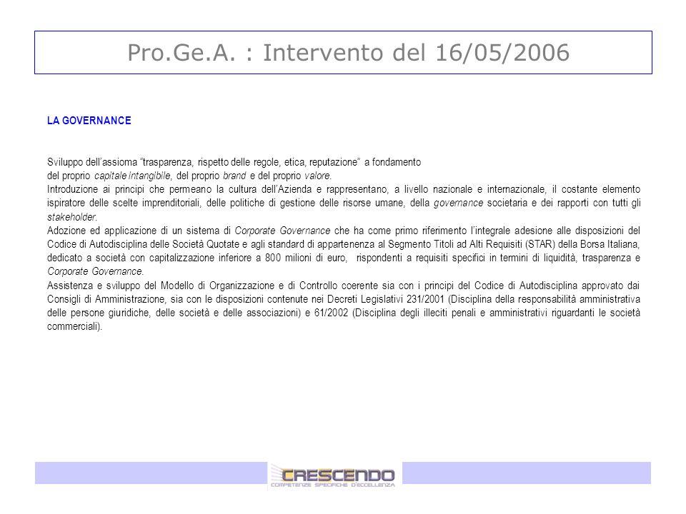 Pro.Ge.A. : Intervento del 16/05/2006 LA GOVERNANCE Sviluppo dellassioma trasparenza, rispetto delle regole, etica, reputazione a fondamento del propr