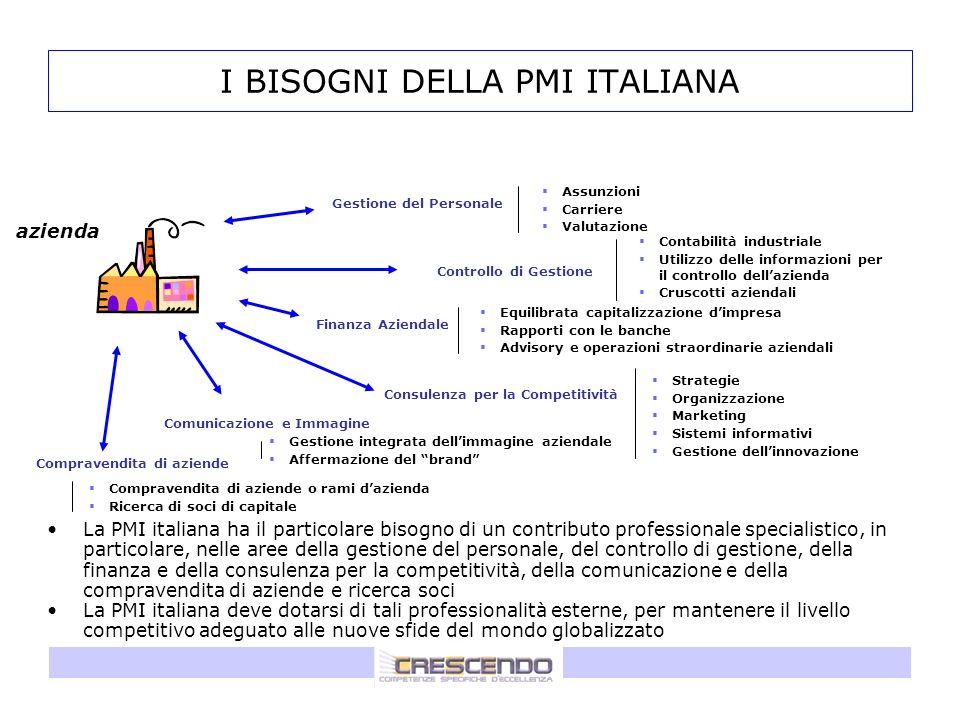 I BISOGNI DELLA PMI ITALIANA La PMI italiana ha il particolare bisogno di un contributo professionale specialistico, in particolare, nelle aree della