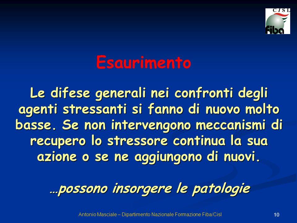 10 Le difese generali nei confronti degli agenti stressanti si fanno di nuovo molto basse. Se non intervengono meccanismi di recupero lo stressore con