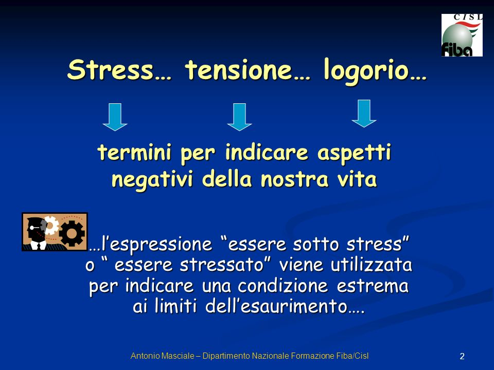 3 …invece solo in alcuni casi lo stress è tanto grave da condurre alla malattia … in genere è fonte di energia e, in giusta misura, è indispensabile Antonio Masciale – Dipartimento Nazionale Formazione Fiba/Cisl