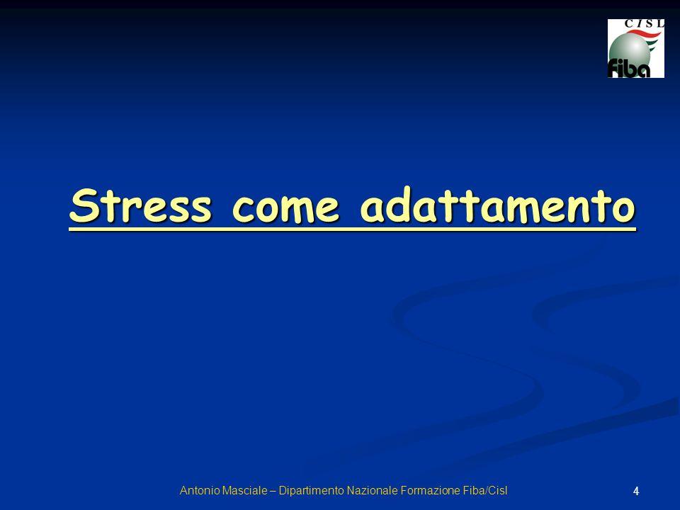 5 I fattori che sollecitano lorganismo ad una risposta adattiva vengono chiamati agenti stressanti o stressori Distinguiamo tra agente stressante agente stressante e stress Antonio Masciale – Dipartimento Nazionale Formazione Fiba/Cisl