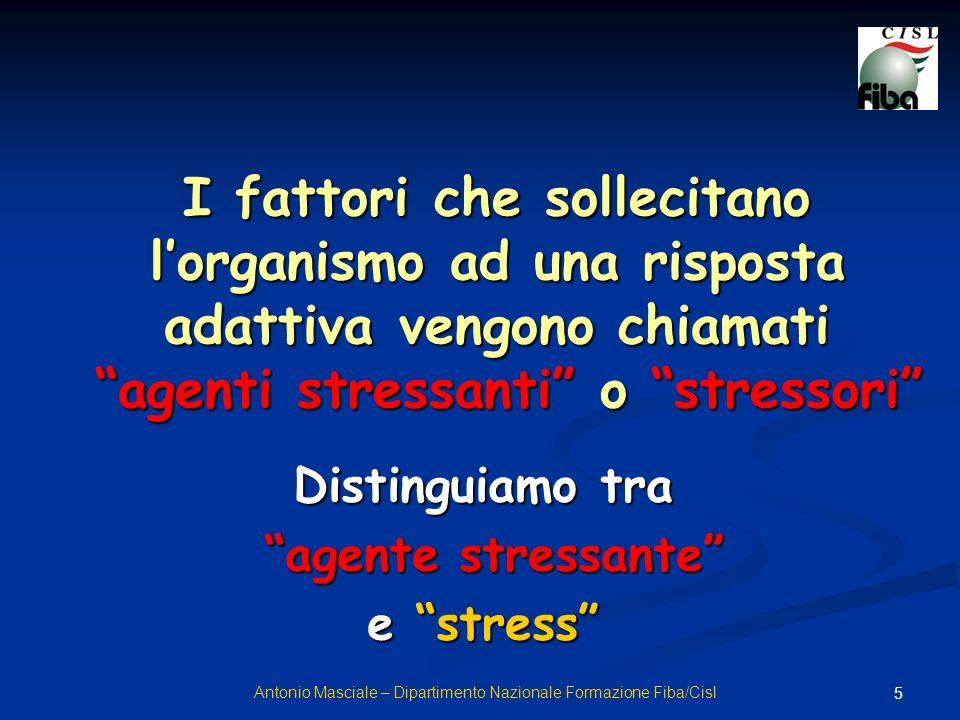 5 I fattori che sollecitano lorganismo ad una risposta adattiva vengono chiamati agenti stressanti o stressori Distinguiamo tra agente stressante agen