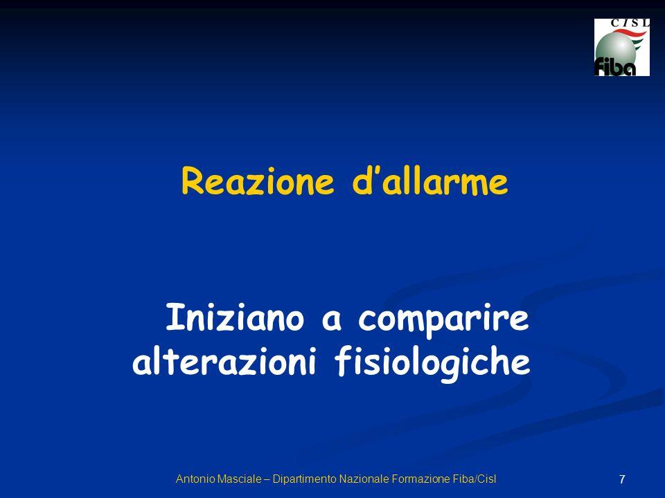 7 Antonio Masciale – Dipartimento Nazionale Formazione Fiba/Cisl Reazione dallarme Iniziano a comparire alterazioni fisiologiche