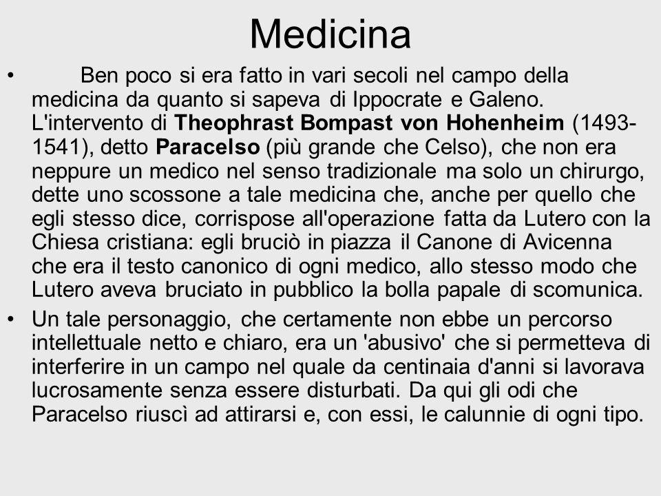 Medicina Ben poco si era fatto in vari secoli nel campo della medicina da quanto si sapeva di Ippocrate e Galeno. L'intervento di Theophrast Bompast v