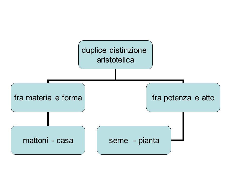 duplice distinzione aristotelica fra materia e forma mattoni - casa fra potenza e atto seme - pianta