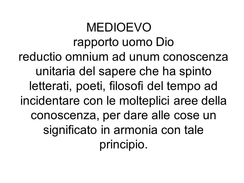 MEDIOEVO rapporto uomo Dio reductio omnium ad unum conoscenza unitaria del sapere che ha spinto letterati, poeti, filosofi del tempo ad incidentare co