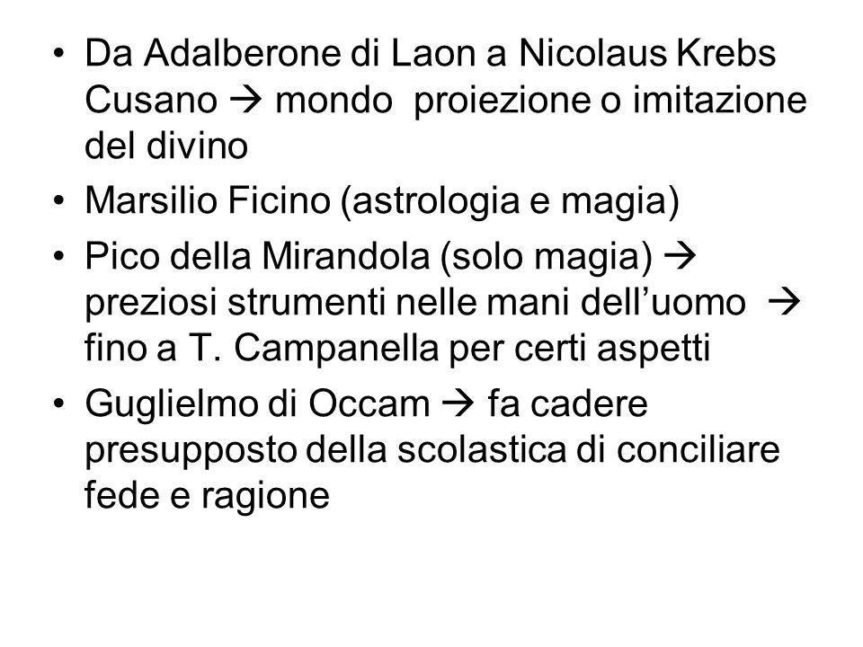 Da Adalberone di Laon a Nicolaus Krebs Cusano mondo proiezione o imitazione del divino Marsilio Ficino (astrologia e magia) Pico della Mirandola (solo