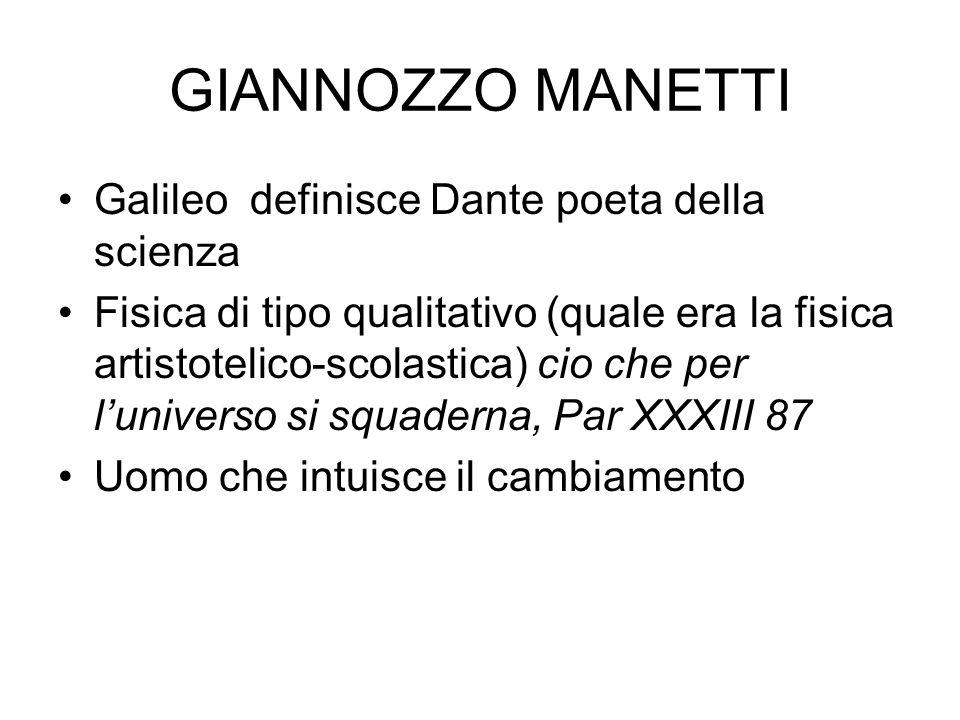 GIANNOZZO MANETTI Galileo definisce Dante poeta della scienza Fisica di tipo qualitativo (quale era la fisica artistotelico-scolastica) cio che per lu