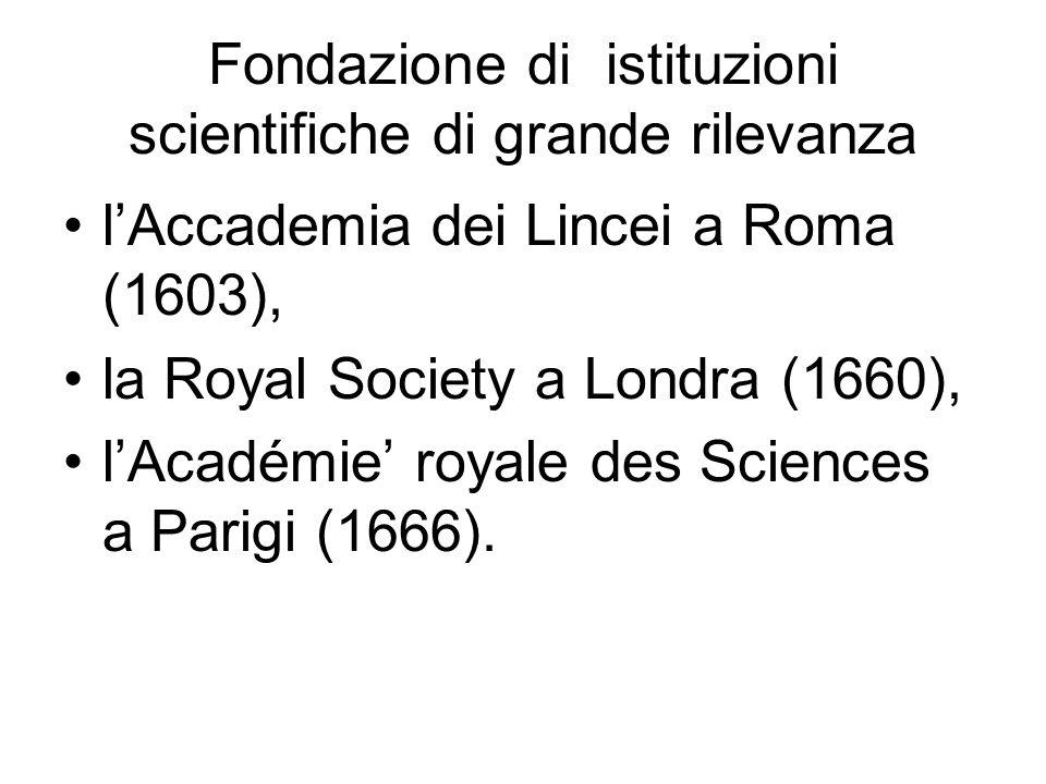 Fondazione di istituzioni scientifiche di grande rilevanza lAccademia dei Lincei a Roma (1603), la Royal Society a Londra (1660), lAcadémie royale des