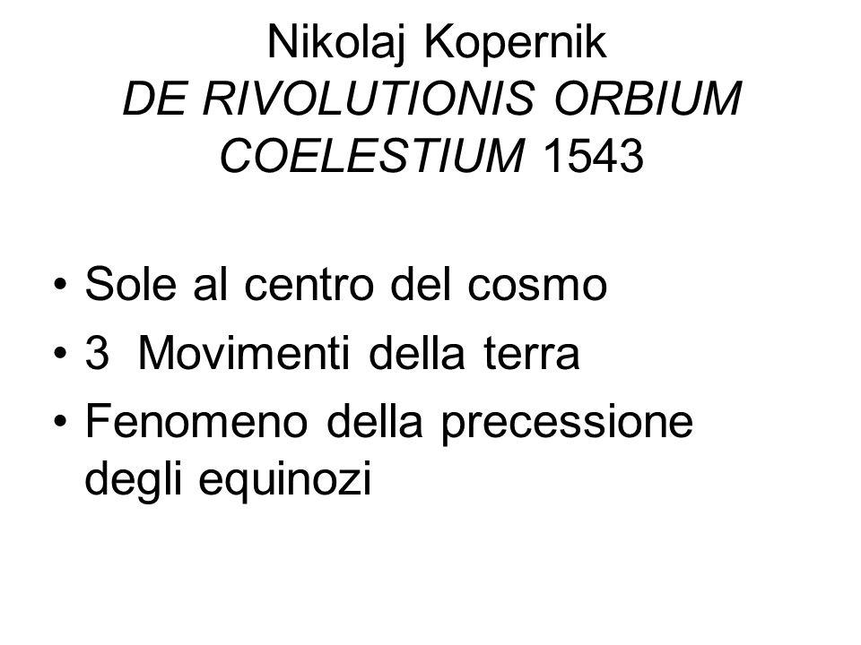 Nikolaj Kopernik DE RIVOLUTIONIS ORBIUM COELESTIUM 1543 Sole al centro del cosmo 3 Movimenti della terra Fenomeno della precessione degli equinozi