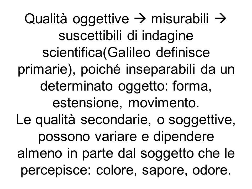 Qualità oggettive misurabili suscettibili di indagine scientifica(Galileo definisce primarie), poiché inseparabili da un determinato oggetto: forma, e