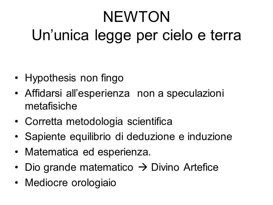 NEWTON Ununica legge per cielo e terra Hypothesis non fingo Affidarsi allesperienza non a speculazioni metafisiche Corretta metodologia scientifica Sa