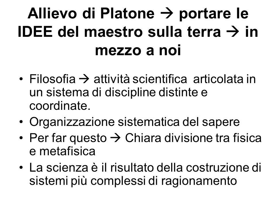Allievo di Platone portare le IDEE del maestro sulla terra in mezzo a noi Filosofia attività scientifica articolata in un sistema di discipline distin