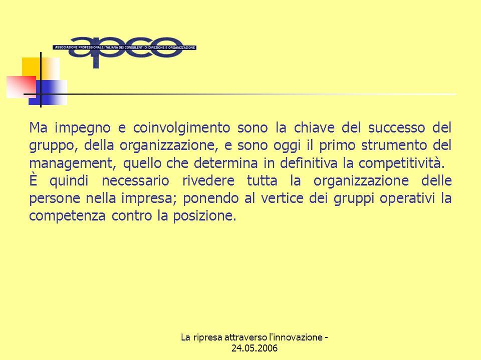 La ripresa attraverso l innovazione - 24.05.2006 Ma impegno e coinvolgimento sono la chiave del successo del gruppo, della organizzazione, e sono oggi il primo strumento del management, quello che determina in definitiva la competitività.