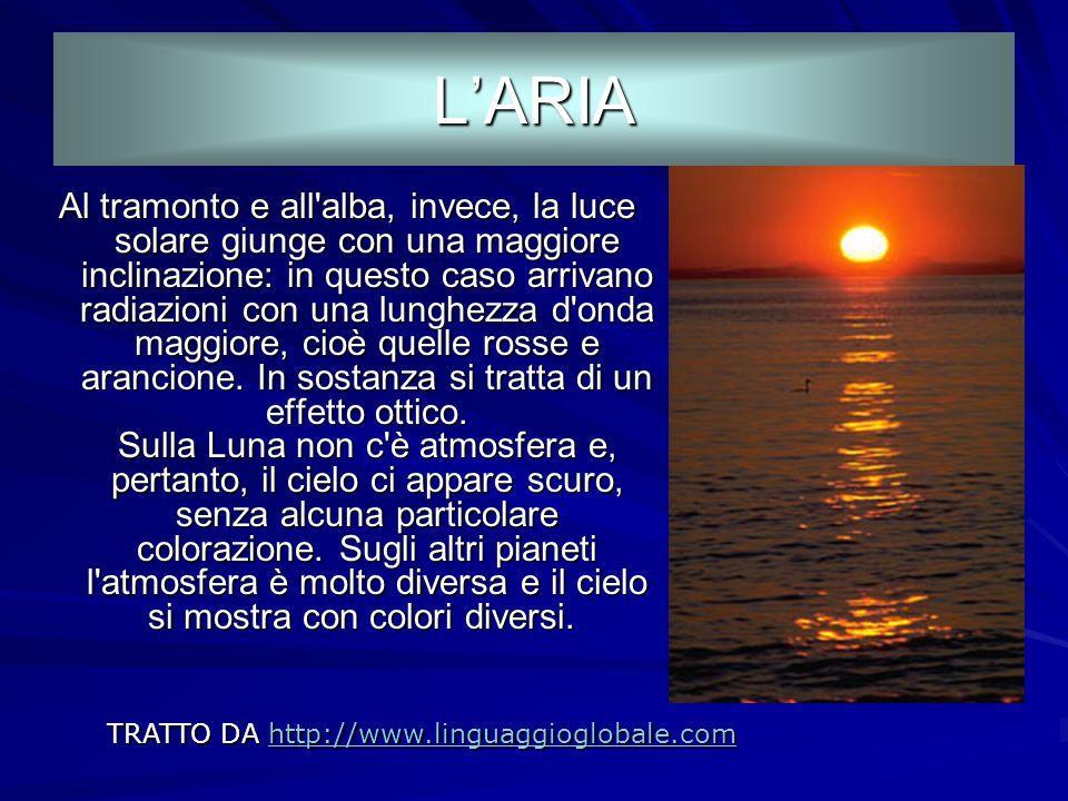 TRATTO DA http://www.linguaggioglobale.com http://www.linguaggioglobale.com PERCHE IL CIELO E AZZURRO? PERCHE IL CIELO E AZZURRO? Quando non è oscurat