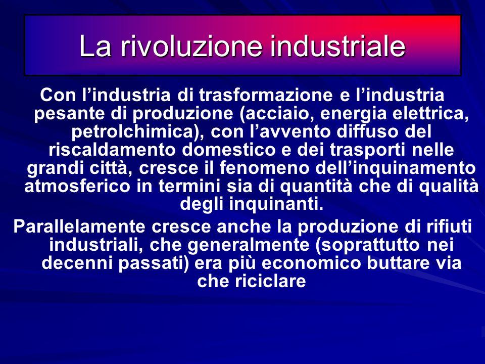 La rivoluzione industriale Da questo periodo la produzione di rifiuti media di ciascun abitante inizia ad aumentare esponenzialmente