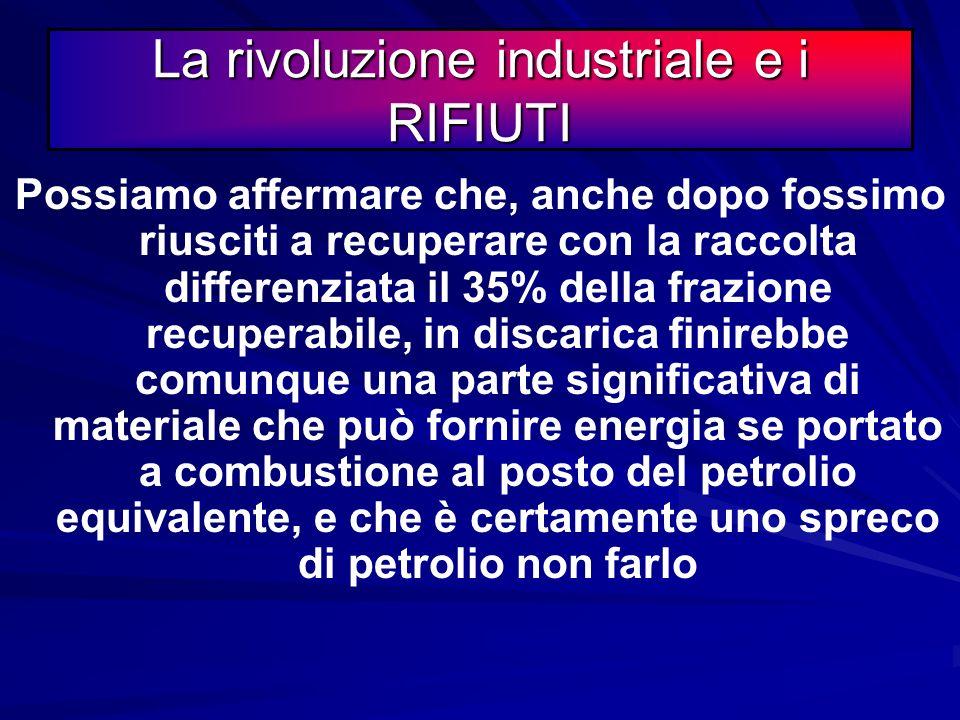 La rivoluzione industriale e i RIFIUTI Una seconda riflessione Una seconda riflessione Aggregando cartoni+plastica+legno e tessuti combustibili?