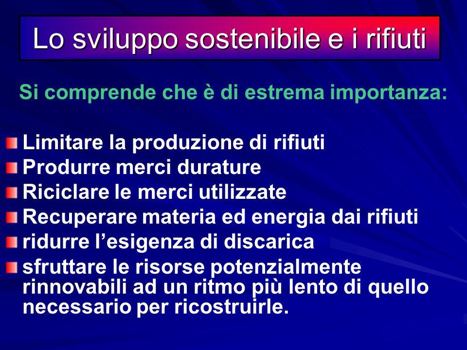 La rivoluzione industriale e i RIFIUTI Solo in questo modo possiamo tentare di rispettare uno dei principi dello sviluppo sostenibile applicato alla p