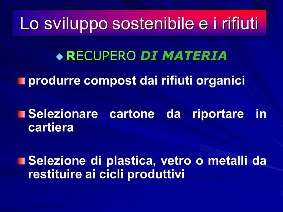 Il recupero è una modalità di gestione dei rifiuti che si basa sulla trasformazione (termica, chimica, fisico o biologica) degli stessi in modo da pro