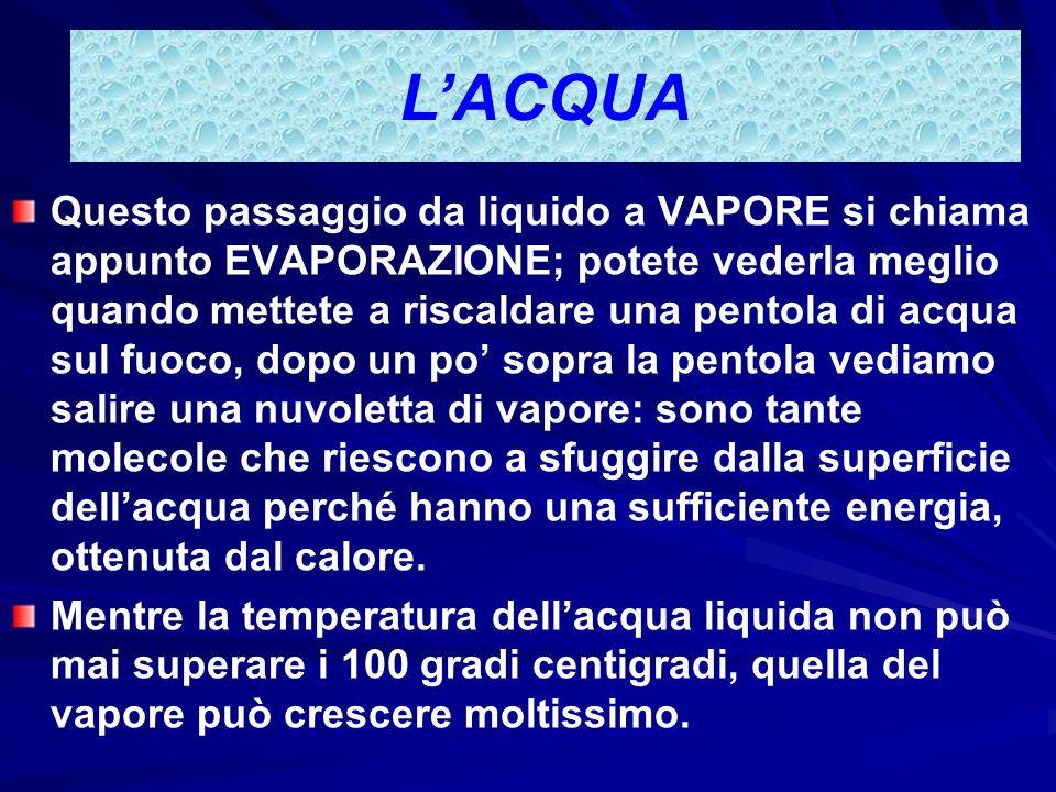 LACQUA È necessario molto calore per far aumentare la temperatura dellacqua e molto calore viene ceduto quando lacqua si raffredda: per questo i mari