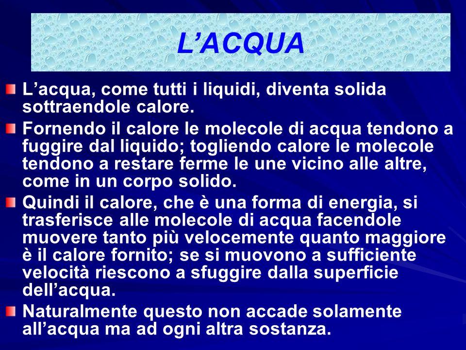LACQUA Quindi levaporazione si ha quando il liquido passa allo stato di gas solo sulla superficie, mentre lebollizione si ha quando le molecole di acq